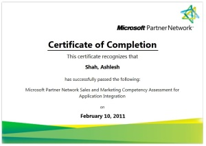 Microsoft Certified Sales & Marketing Professinal for Application Integration
