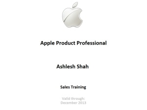 Apple Certified Product & Sales Professional Recognition
